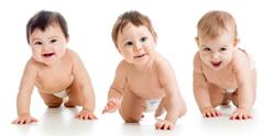 three babies crawling