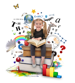 Child surrounded by learning objects