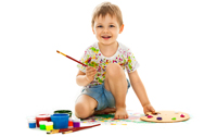 A boy painting